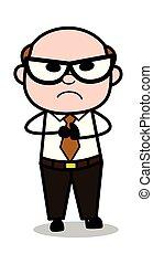 Rage - Retro Cartoon Office old Boss Man Vector Illustration