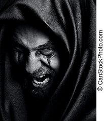 rage, spooky, fâché, maléfique, mal, homme