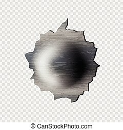 ragged bullet Hole torn in ripped metal