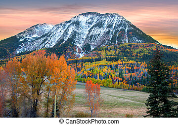 Ragged peak in Colorado with evening sky