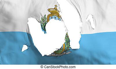 Ragged San Marino flag, white background, 3d rendering