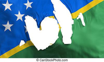 Ragged Solomon Islands flag, white background, 3d rendering