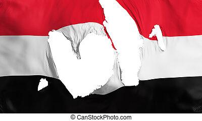 Ragged Yemen flag, white background, 3d rendering