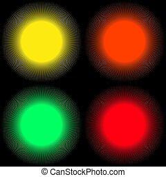 raggi, colorato, forma, palle, sfondi, isolato, set, sfondo nero