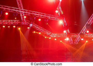 raggi, laser, concerto, luci, raggi, sfocato, apparecchiatura, illuminazione, o, palcoscenico