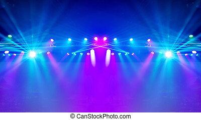 raggi, laser, riflettore, palcoscenico