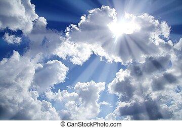 raggi luce, azzurro cielo, con, nubi bianche