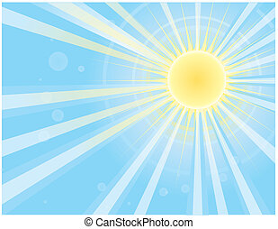 raggi sole, in, blu, sky.vector, immagine