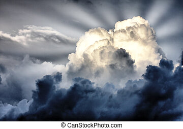 raggi sole, nubi, tempesta, whith