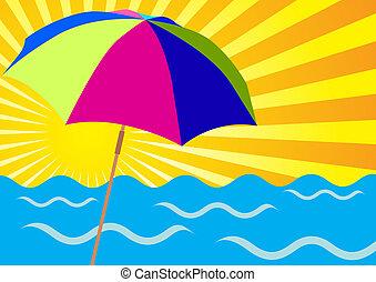 raggi sole, oceano, e, spiaggia, ombrelli