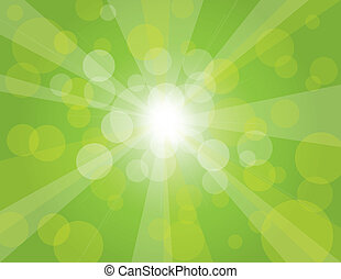 raggi sole, su, sfondo verde, illustrazione
