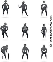 raggi x, corpo, disegnato, organo, icone