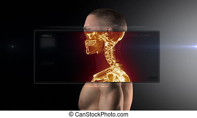 raggi x medici, scansione, con, mostra