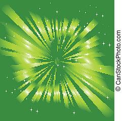raggio, sfavillante, stelle, verde