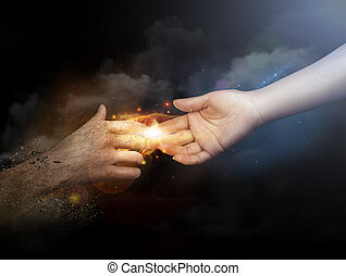 raggiungimento, mani, dita, su, altro, umano, ciascuno, chiudere