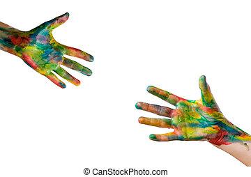 raggiungimento, primo piano, portata, dipinto, white., colori, umano, percorso, isolato, mano., included, altro, luminoso, mani, tentando, ciascuno, ritaglio