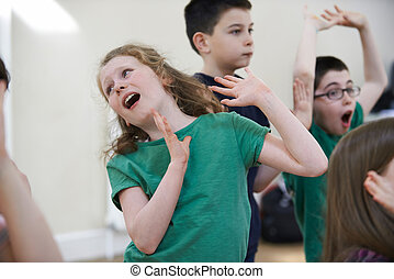 raggruppare insieme, bambini, dramma, godere, classe