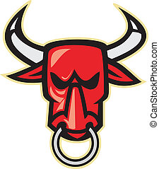 Raging Angry Bull Head - Illustration of a raging angry bull...