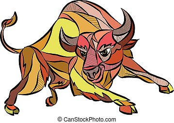 Raging Bull Charging Drawing