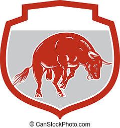 Raging Bull Jumping Attacking Charging Retro - Illustration...