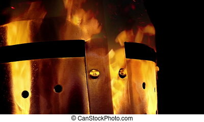 Raging Fire In Knight Helmet Abstract - Moving past a metal...