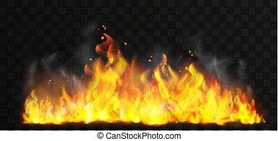 Raging fire realistic vector illustration. Dangerous ...