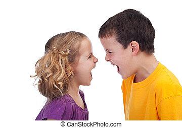 Raging kids - isolated - Raging kids - children shouting to ...