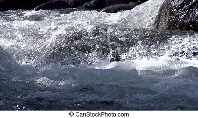 Raging Mountain river - Wildness of clean, clear water in...