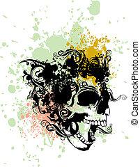 Raging punk skull illustration