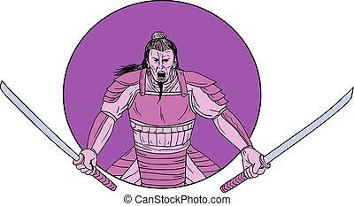 Raging Samurai Warrior Two Swords Oval Drawing