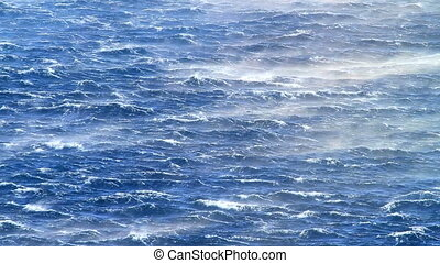 Raging sea - Furious waves lashed up by strong wind