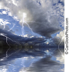 Raging Storm - Storm clouds and lightning captured during...