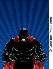 Raging Superhero Ray Light Background Silhouette