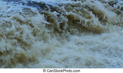 raging waterfall slow motion top view
