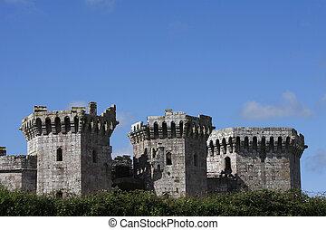 Raglan castle against a blue sky, South Wales