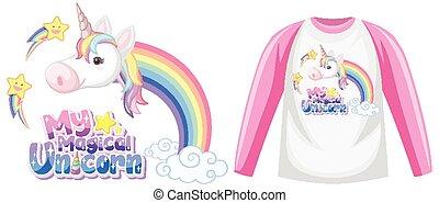 Raglan long sleeve t-shirt unicorn theme illustration