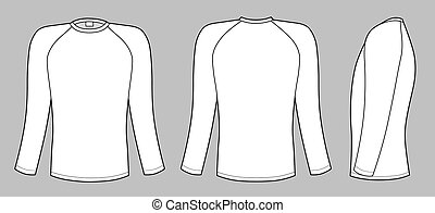 Raglan sleeve t-shirt - Outline black-white t-shirt vector ...