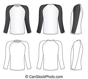 Raglan sleeve t-shirt - Outline black-white t-shirt vector...