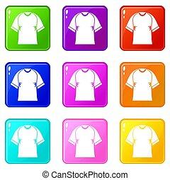 Raglan tshirt icons of 9 color set isolated illustration
