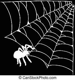 ragno, in, il, web, illustrazione