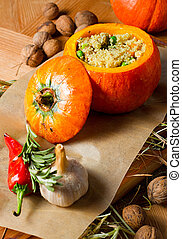 Ragout of duck with couscous, baked in a pumpkin