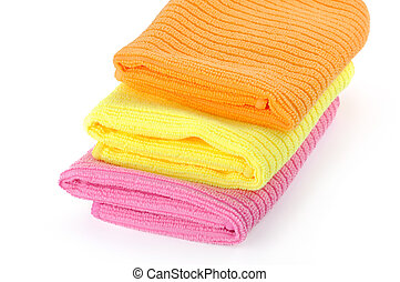 rags for cleaning on a white background, towel