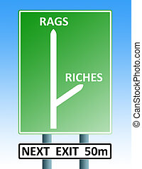rags riches roadsign - road sign with arrows depicting the...
