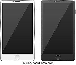 ragyog, smartphones, finish., modern, elszigetelt, screen., háttér., vektor, fekete, sima, érint, fehér, csúcstechnológia