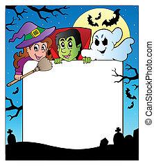 rahmen, 2, halloween, charaktere