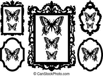rahmen, bild, vlinders