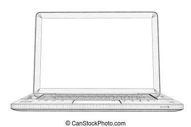 rahmen, draht, laptop.