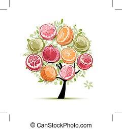 rahmen, gemacht, von, früchte, skizze, für, dein, design