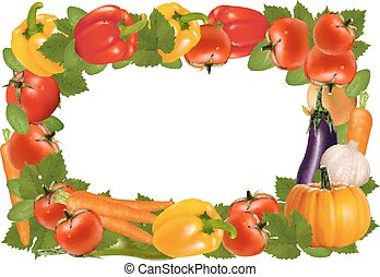 rahmen, gemacht, von, vegetables., vektor, illustration.