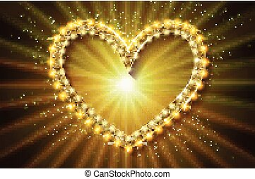 rahmen, heart., version., gold, kino